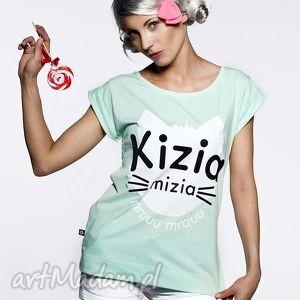 koszulka miętowa,,kizia mizia, mięta, pastele, nadruk, tshirt, prezent, kot
