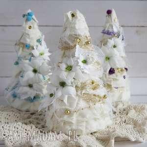 choinka biało-złota - ozdoba świąteczna, choinka handmade