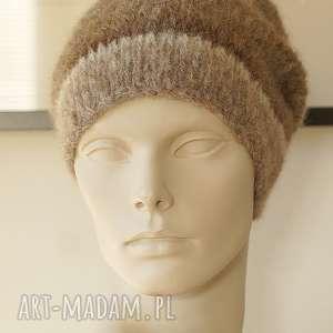 czapki alpakowa czapka brązowa, czapka, alpaka, wełniana, paski, dziergana