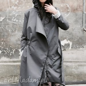 płaszcze płaszcz asymetryczny przeciwdeszczowy szary, przeciwdeszczowy, kaptur