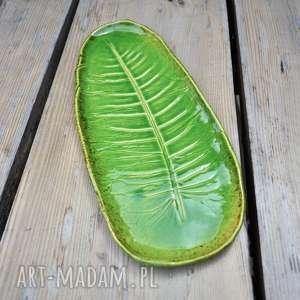 handmade ceramika patera talerz liść chrzanu
