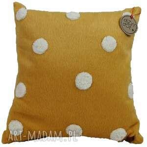 """Poduszka dekoracyjna żółta w grochy """"alpaka"""" pokoik dziecka"""