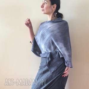 Eleganckie wełniane ponczo w odcieniach szarości, ponczo, wełna, dzianina, sweter