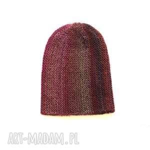 czapka multikolor no 2 - czapka, wełniana, dziergana, kolorowa, multikolor