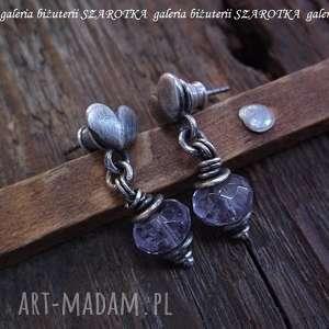 liliowe love kolczyki z ametystu i srebra