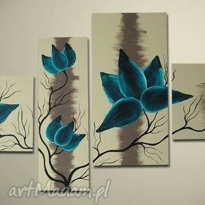 święta, magnolie turkusowe- 130x70cm, kwiaty, magnolie, turkusowy