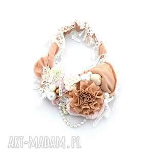 naszyjniki kwiat pustyni naszyjnik handmade, naszyjnik, beżowy, ecu, kremowy, jasny