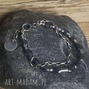 bransoletka srebrna z iolitami, metaloplastyka, iolit fasetowany, biżuteria na