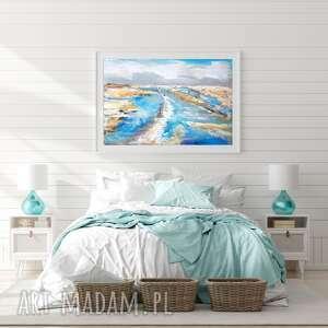 Obraz olejny pejzaż morze lato abstrakcja do salonu 29x42 cm
