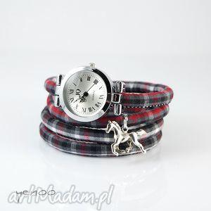 hand made zegarki zegarek, bransoletka - koń - szkocka krata, owijany