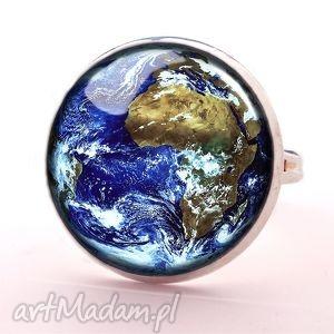 ziemia - pierścionek regulowany, biżuteria, prezent