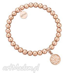 bransoletki bransoletka z różowego złota orientalną rozetką, modna, różowe