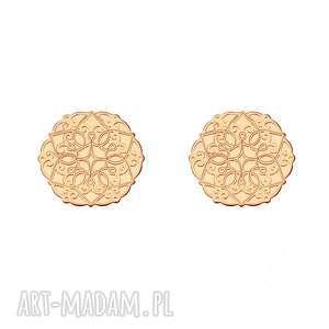 kolczyki ażurowe rozetki z różowego złota, kolczyki, rozetki, różowe złoto