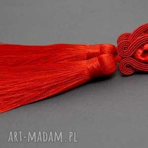 święta prezent, czerwone kolczyki sutasz, sznurek, sztyfty, wiszące, długie, chwost