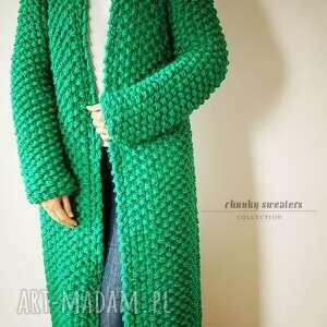 green chunky, sweter, płaszcz, dziergany, druty, merynos swetry ubrania