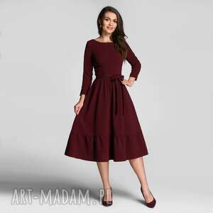 sukienki sukienka olga 3/4 midi bordo, z falbaną, falbana