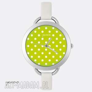 Prezent Zegarek, bransoletka - Kropki, zielony, zegarek, bransoletka, skórzany