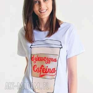 cofeina - t-shirt damski oversize, ona, koszulka, tshirt, bawełna, moda