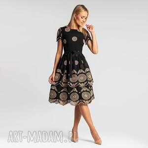sukienka elzna midi bellisa czarno-beżowa, wieczorowa, elegancka