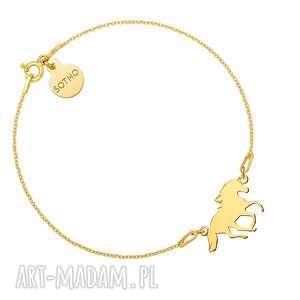handmade złota bransoletka z koniem