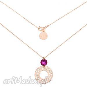 naszyjnik z różowego złota z dużą arabską rozetą i różowym