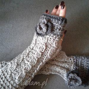 długie rękawiczki mitenki zamÓwienie - rękawiczki, mitenki, szare