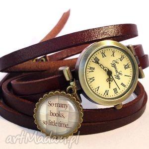 so many books - zegarek bransoletka na skórzanym pasku, książki