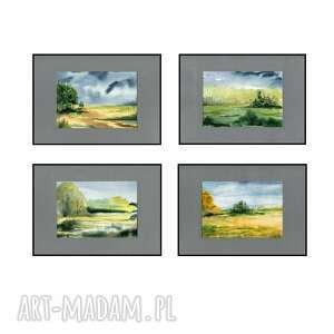 pejzaże 4 akwarele oprawione w passe-partout x a4, akwarele, pejzaż, obraz