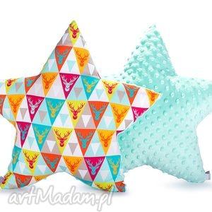 pokoik dziecka poduszka gwiazda - miętowy jelon, poduszka