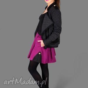 kurtka dark grey 3d jacket - kurtka, dzianinowa, wytłaczana, kieszenie, szara