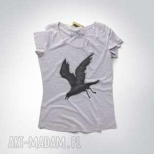 wyjątkowy prezent, kruk w locie koszulka damska, tshirt, kruk, oversize, dekolt