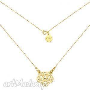 złoty naszyjnik z tygrysem, naszyjnik, tygrys, srebro, złoto, minimalistyczny