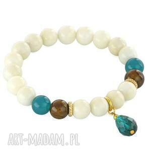 IVORY, BROWN & SEA-GREEN WITH DROP. - ,jadeit,kropla,