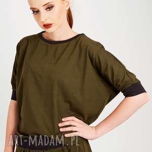 bluzki dzianinowa bluzka khaki s/m, szeroka, dzianina, surowe, wykończenie, oversize