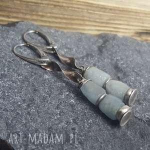 Prezent Kolczyki srebrne z akwamarynami, kolczyki-akwamaryn, srebro-oksydowane
