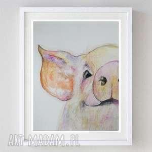świnka-akwarela formatu 21/28 cm, świnka, akwarela, zwierzęta, papier