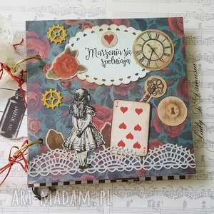 scrapbooking notesy sekretnik/pamiętnik alicja w krainie czarów, alicja, kluczyk