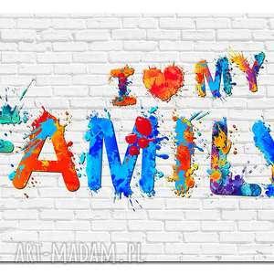 obrazy obraz duże my family 07 -120x70cm na płótnie szary biały kolorowy
