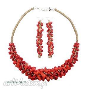 koral czerwony - komplet biżuterii, koral, len, komplet, makrama, czerwień, minerały