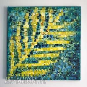 obraz - jesienne inspiracje iii, obraz, płótno, akryl, orginalny, dom, liść