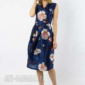 sakura - jedwabna granatowa sukienka koktajlowa, sukienki