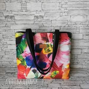 na ramię torebka - malowane kwiaty, damska handmade, shopper kolory