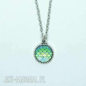 naszyjniki naszyjnik - łuski turkusowe mały, naszyjnik, medalion, wisiorek