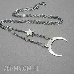 naszyjniki luna - naszyjnik, srebro, delikatny, księżyc, gwiazdka, hematyt
