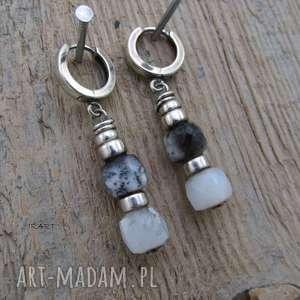 kolczyki z nieregularnych opali dendrytowych - srebro, opal, dendrytowy, kolczyki