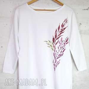 JESIENNA bluzka bawełniana biała z nadrukiem S/M, bluzka, liście, bluza,