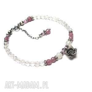 garden rose - bransoletka, srebro, rubiny, romantyczna, róża, kamienie