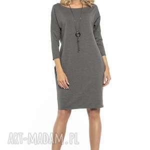 Luźna sukienka z kieszeniami, T247, szary, luźna, sukienka, szeroki, fason, kieszenie