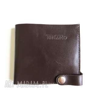 hand-made portfele portfel skórzany z zatrzaskiem prawej strony