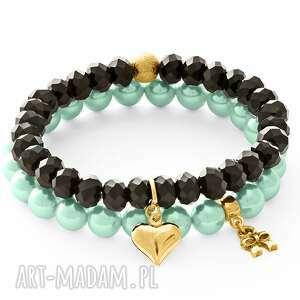 autorskie bransoletki aquamarine pearl & black crystal with pendants